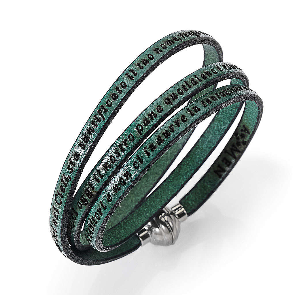 Bracelet Amen Notre Père vert ITA 4