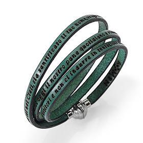 AMEN bracelets: Amen Bracelet in green leather Our Father ITA