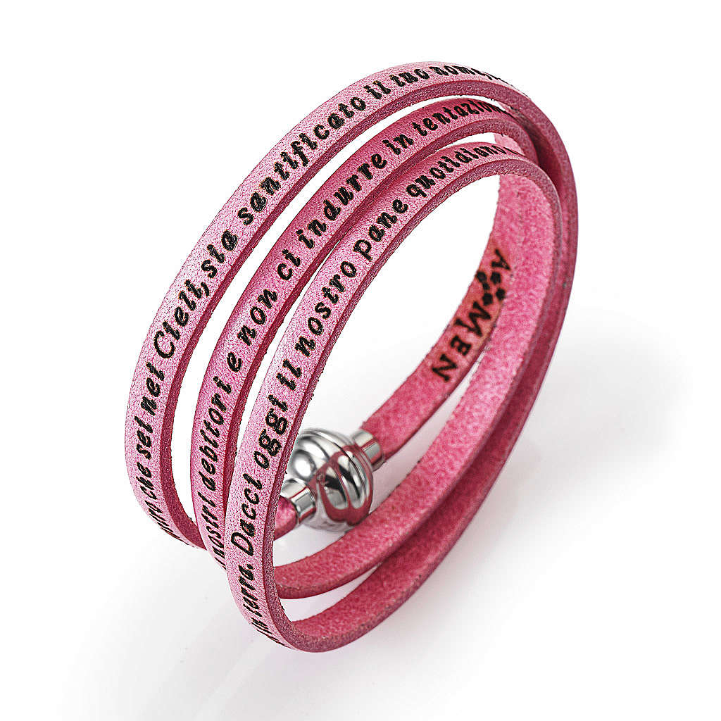 Amen Bracelet in pink leather Our Father ITA 4
