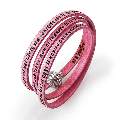 Amen Bracelet in pink leather Our Father ITA 1