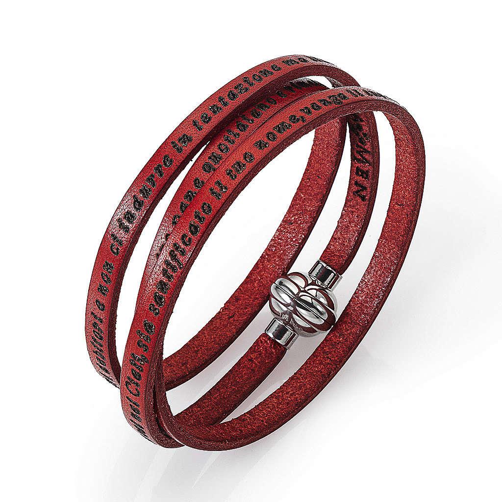Bracelet Amen Notre Père rouge ITA 4
