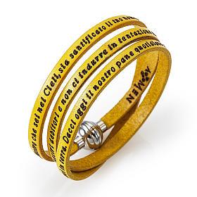 AMEN bracelets: Amen Bracelet in yellow leather Our Father ITA