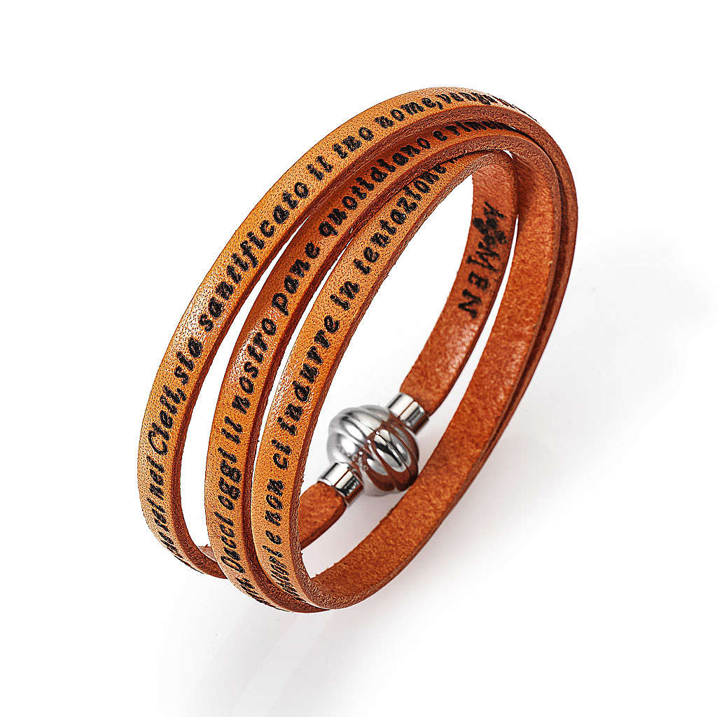 Amen Bracelet in orange leather Our Father ITA 4