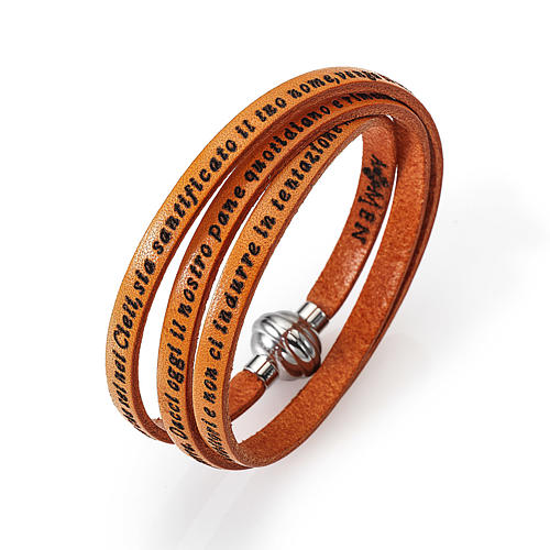 Amen Bracelet in orange leather Our Father ITA 2