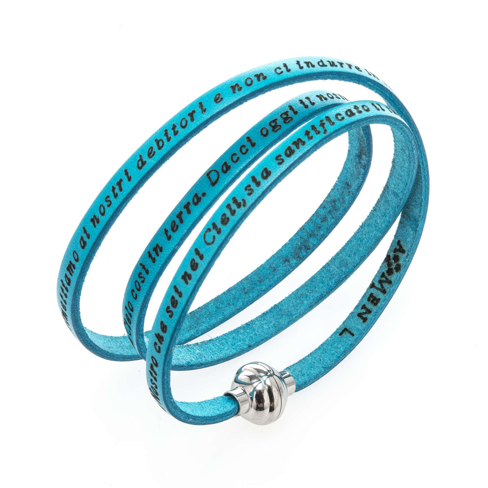 Amen Bracelet in turquoise leather Our Father ITA 4