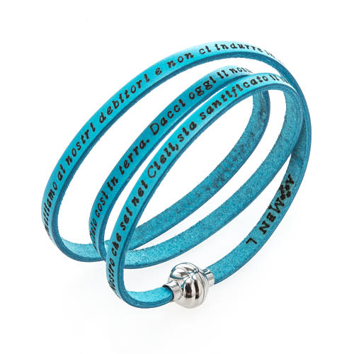 Amen Bracelet in turquoise leather Our Father ITA 1