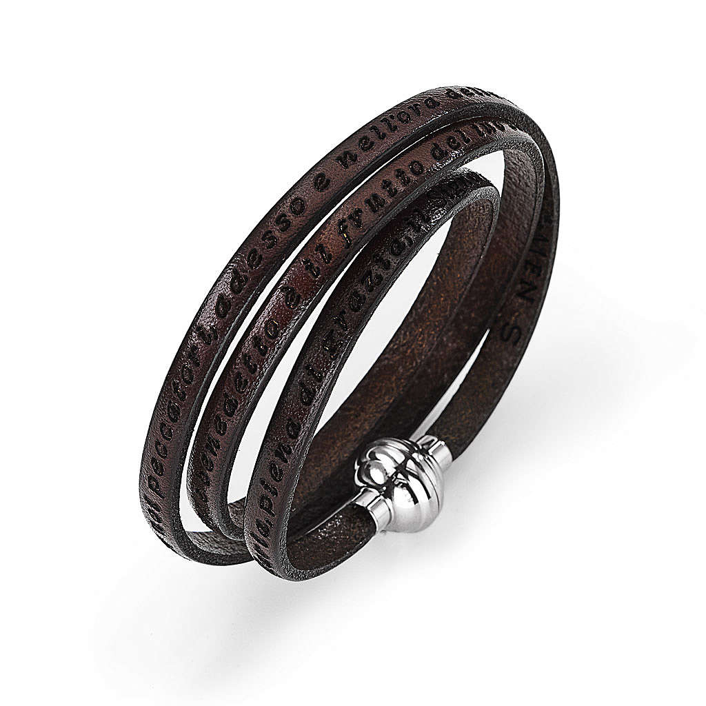 Amen Bracelet in brown leather Hail Mary ITA 4