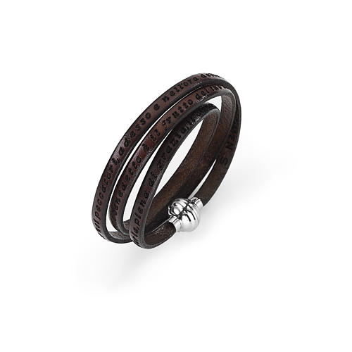 Amen Bracelet in brown leather Hail Mary ITA 1