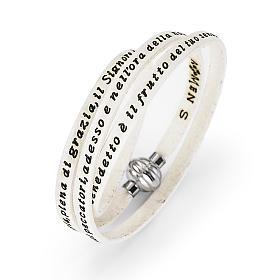 AMEN bracelets: Amen Bracelet in white leather Hail Mary ITA