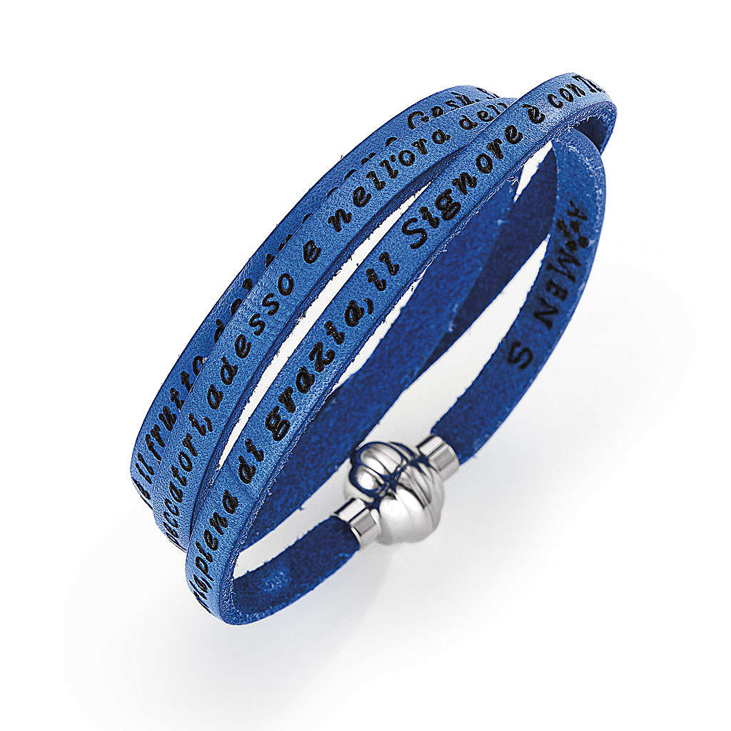 Amen Bracelet in blue leather Hail Mary ITA 4