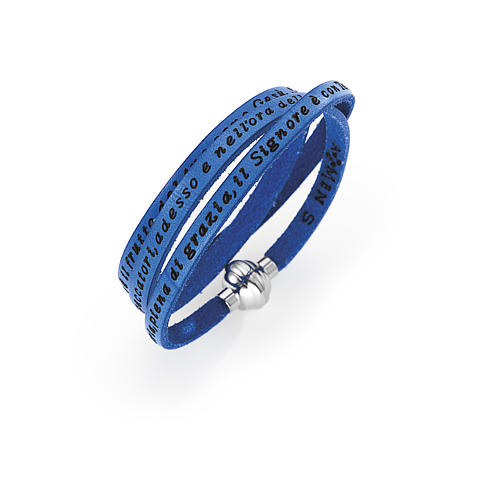 Amen Bracelet in blue leather Hail Mary ITA 1