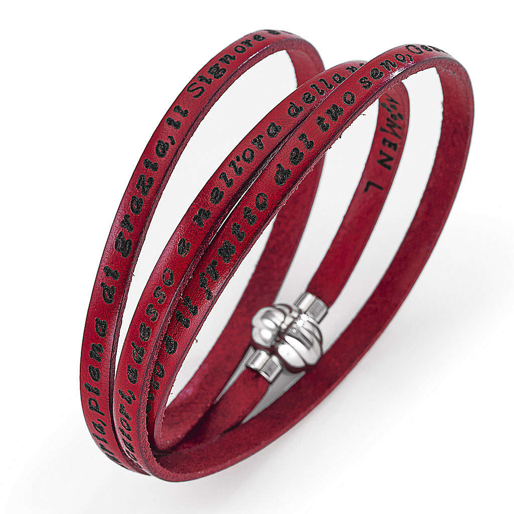 Amen Bracelet in red leather Hail Mary ITA 4