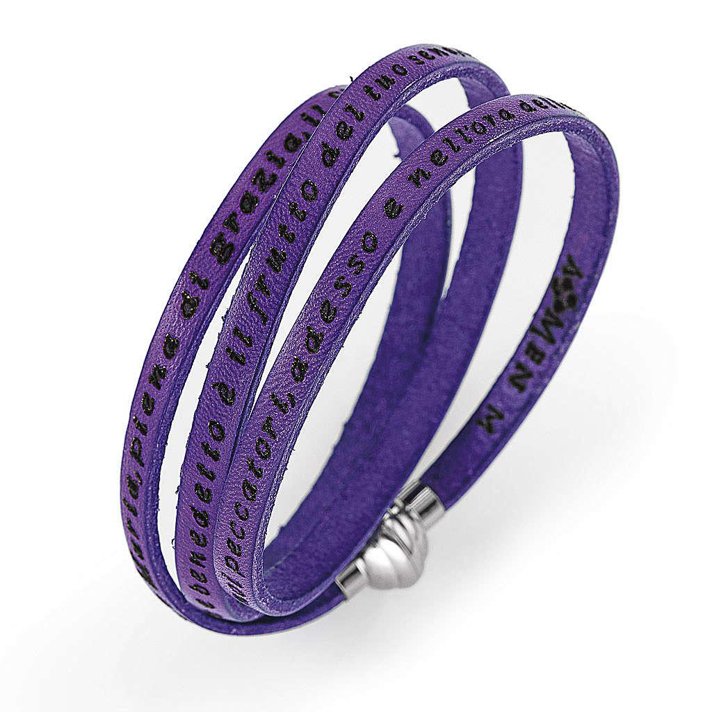 Bracelet Amen Je vous Salue Marie violet ITA 4