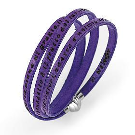 AMEN bracelets: Amen Bracelet in purple leather Hail Mary ITA