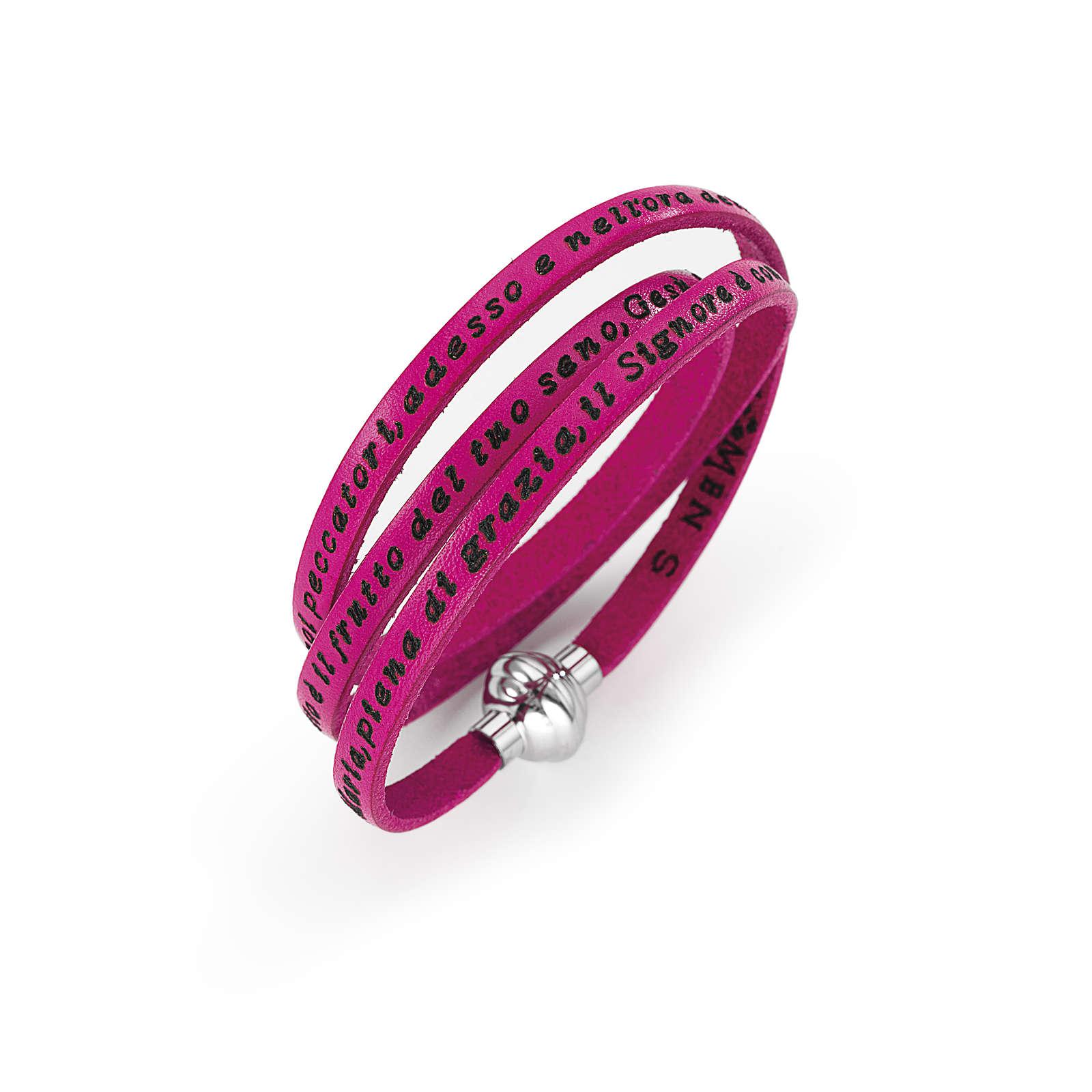 Bracelet Amen Je vous Salue Marie fuchsia ITA 4