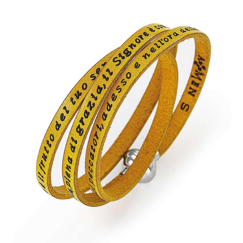 Bracelet Amen Je vous Salue Marie jaune ITA 4