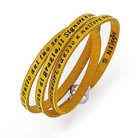 AMEN bracelets: Amen Bracelet in yellow leather Hail Mary ITA