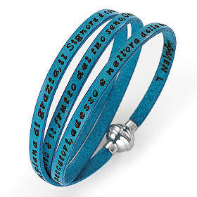 AMEN bracelets: Amen Bracelet in turquoise leather Hail Mary ITA