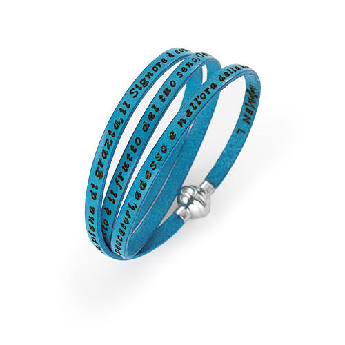 Amen Bracelet in turquoise leather Hail Mary ITA 1