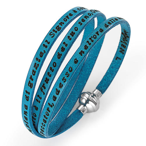 Amen Bracelet in turquoise leather Hail Mary ITA 2