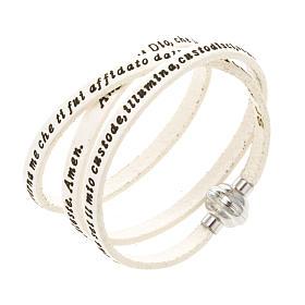AMEN bracelets: Amen Bracelet in white leather Guardian Angel ITA