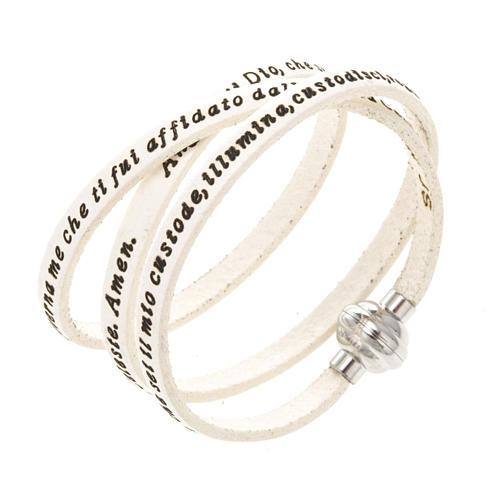 Amen Bracelet in white leather Guardian Angel ITA 1