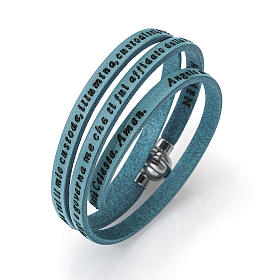AMEN bracelets: Amen Bracelet in turquoise leather Guardian Angel ITA