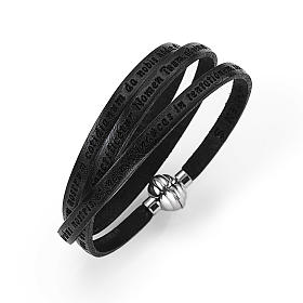 Amen Bracelet in black leather Our Father LAT s1
