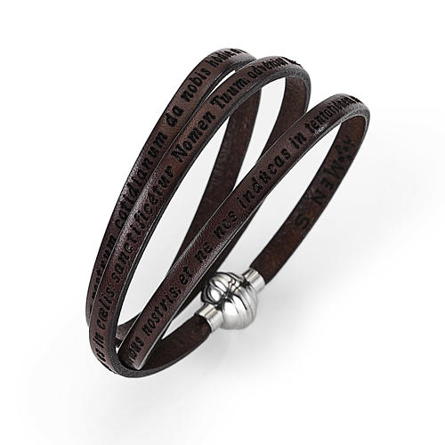 Amen Bracelet in brown leather Our Father LAT 1