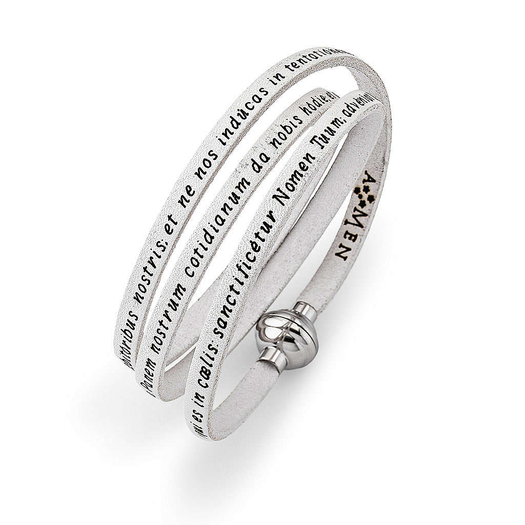 Amen Bracelet in white leather Our Father LAT 4