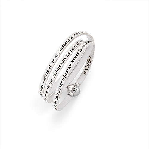Amen Bracelet in white leather Our Father LAT 1