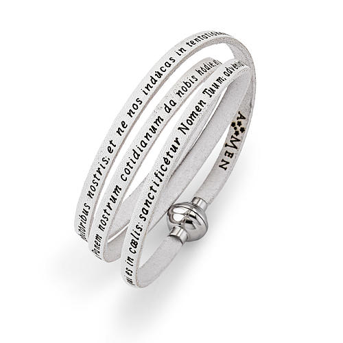 Amen Bracelet in white leather Our Father LAT 2