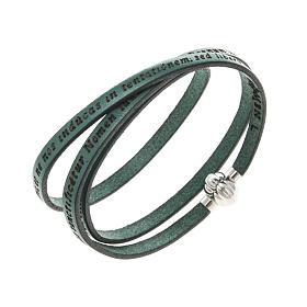 AMEN bracelets: Amen Bracelet in green leather Our Father LAT