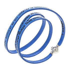 AMEN bracelets: Amen Bracelet in blue leather Our Father LAT