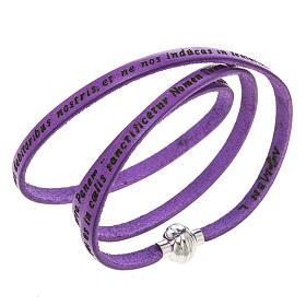 AMEN bracelets: Amen Bracelet in purple leather Our Father LAT
