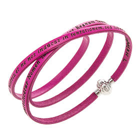 AMEN bracelets: Amen Bracelet in fuchsia leather Our Father LAT