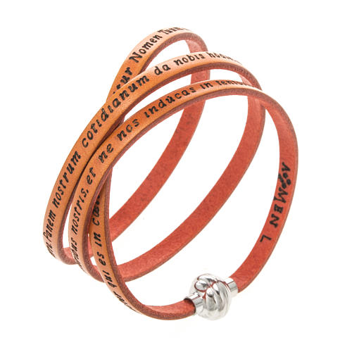 Amen Bracelet in orange leather Our Father LAT 1