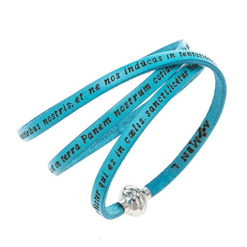 Amen Bracelet in turquoise leather Our Father LAT 1