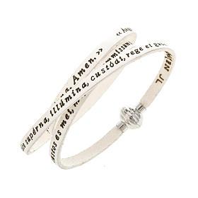 AMEN bracelets: Amen Bracelet in white leather Guardian Angel LAT