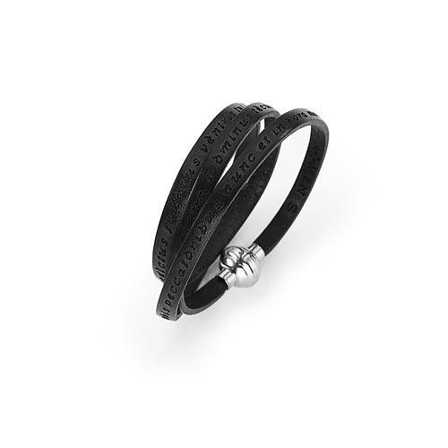 Amen Bracelet in black leather Hail Mary LAT 1