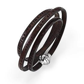 AMEN bracelets: Amen Bracelet in brown leather Hail Mary LAT
