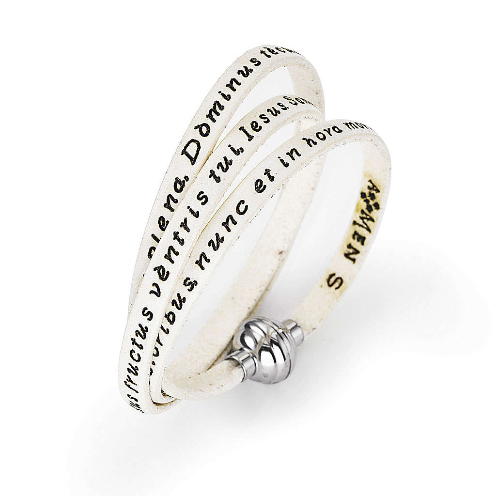 Amen Bracelet in white leather Hail Mary LAT 4