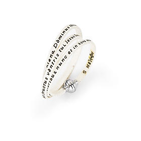 Amen Bracelet in white leather Hail Mary LAT s1