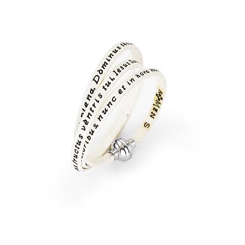 Amen Bracelet in white leather Hail Mary LAT 1