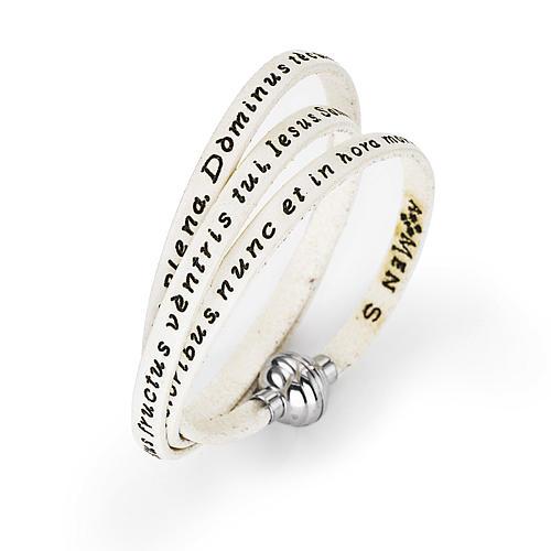 Amen Bracelet in white leather Hail Mary LAT 2
