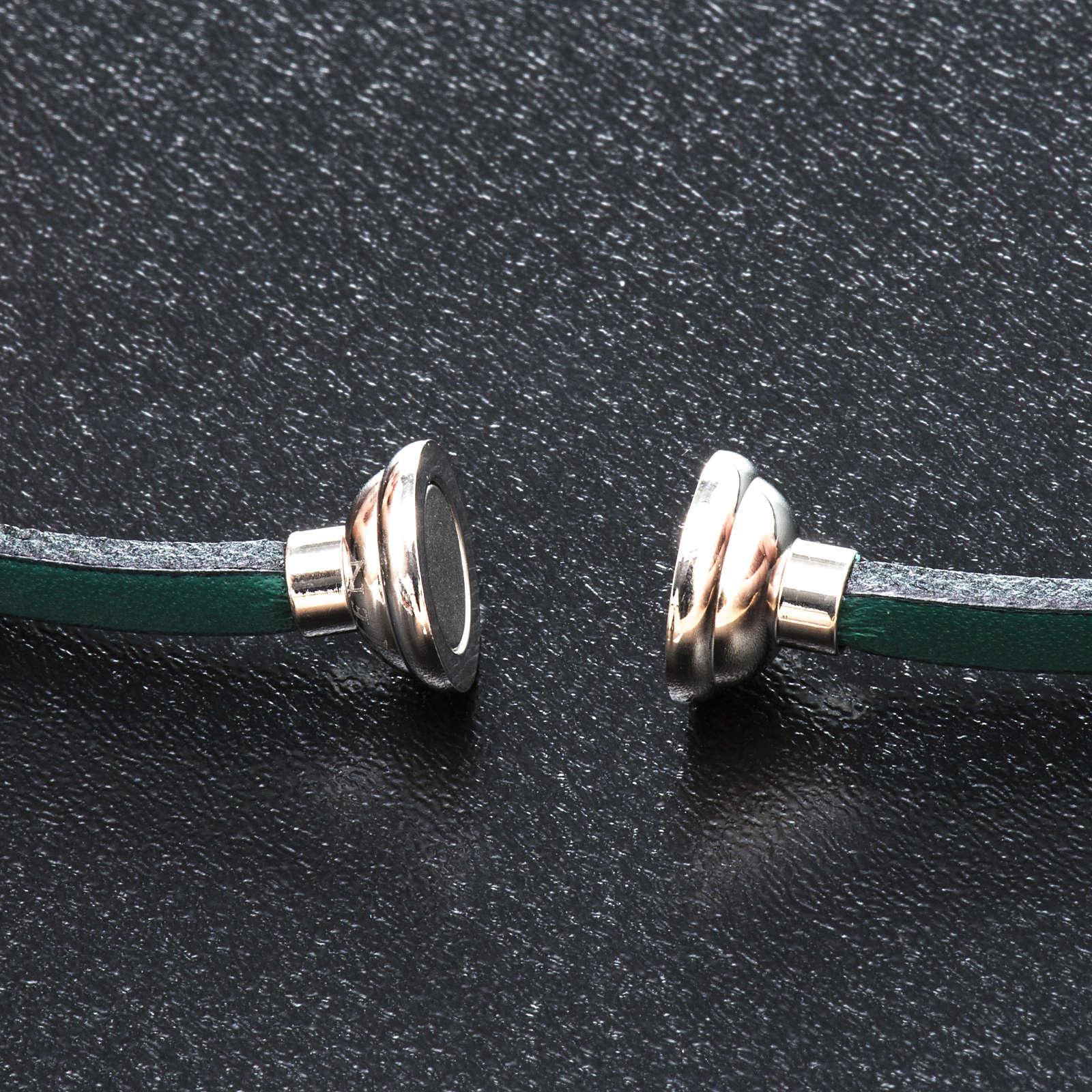 Amen Bracelet in green leather Hail Mary LAT 4