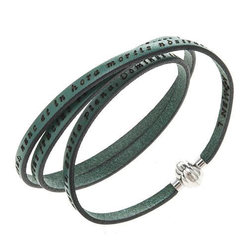 Amen Bracelet in green leather Hail Mary LAT 1