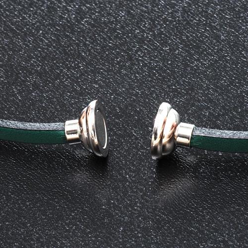 Amen Bracelet in green leather Hail Mary LAT 2