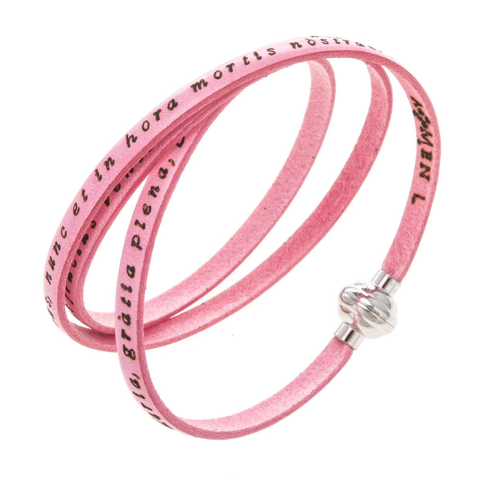 Bracelet Amen Je Vous Salue Marie rose LAT 4