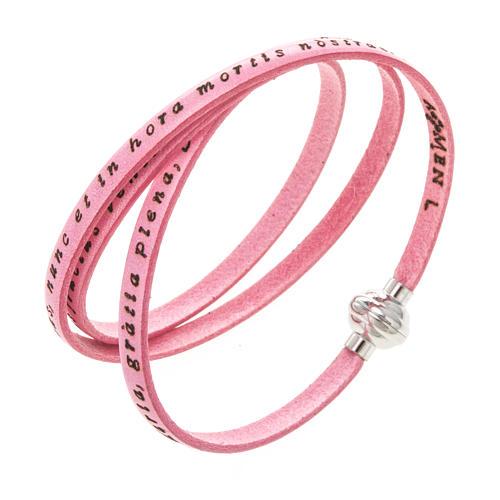 Bracelet Amen Je Vous Salue Marie rose LAT 1